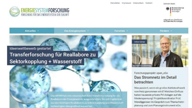 Screenshot der Startseite von energiesystem-forschung.de