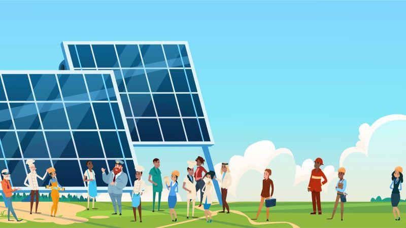 Illustration Menschen vor Solaranlage