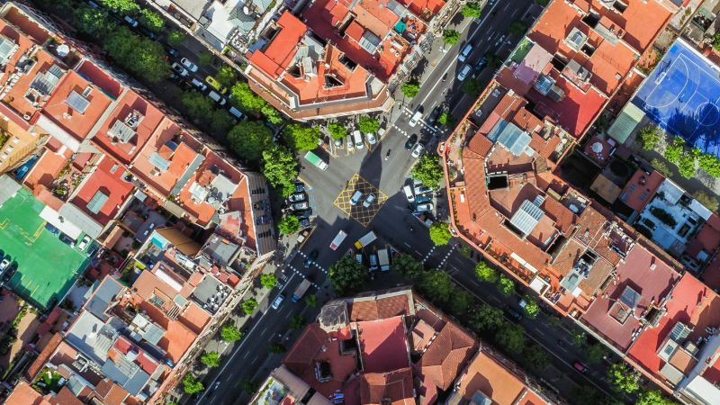 Luftaufnahme eines Quartiers.