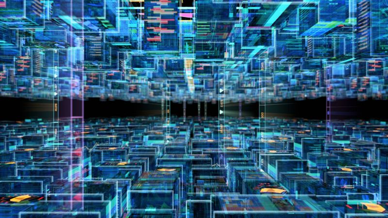 Visualisierung eines digitalen Netzwerkes.