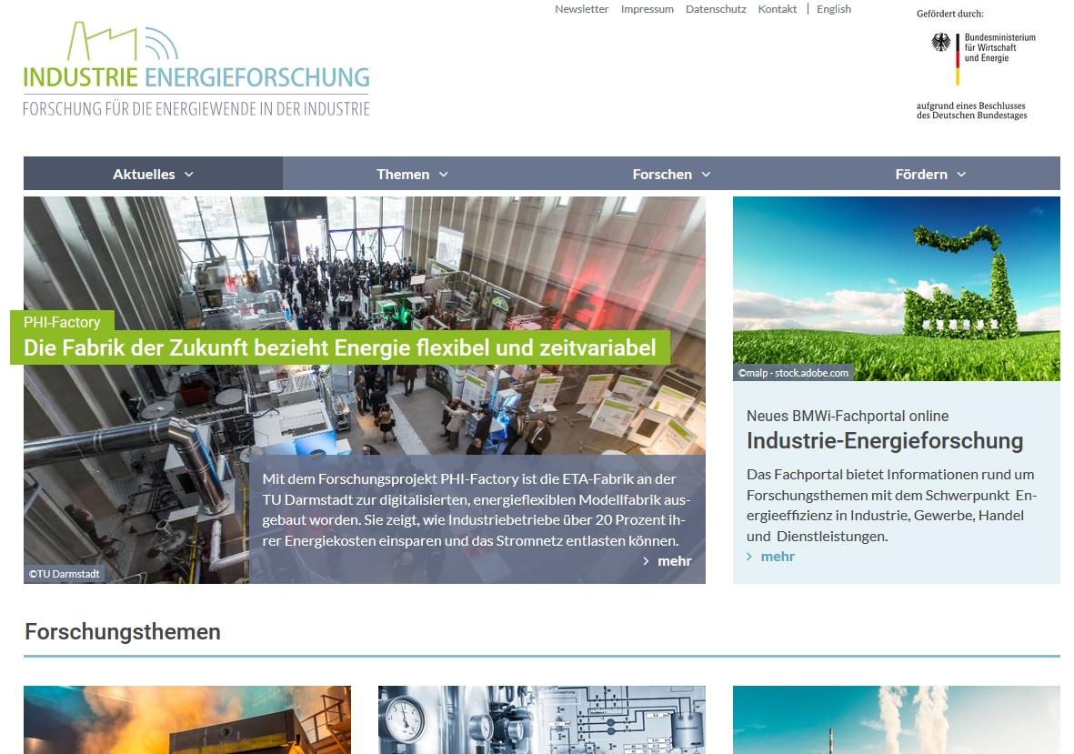 Screenshot von Industrie-Energieforschung (Bild: PtJ)