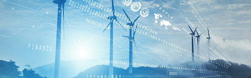 Fotomontage: Windräder über denen eine Grafik mit den Zahlen 1 und 0 liegt, die als Symbol für Digitalisierung stehen.